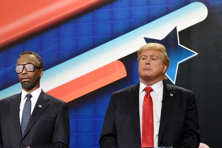 "SATURDAY NIGHT LIVE -- ""Tina Fey and Amy Poehler"" Episode 1692 -- Pictured: (l-r) Pete Davidson as Marco Rubio, Jay Pharoah as Dr. Ben Carson, and Darrell Hammond as Donald Trump during the ""GOP Debate Cold Open"" sketch on December 19, 2015 -- (Photo by: Dana Edelson/NBC)"