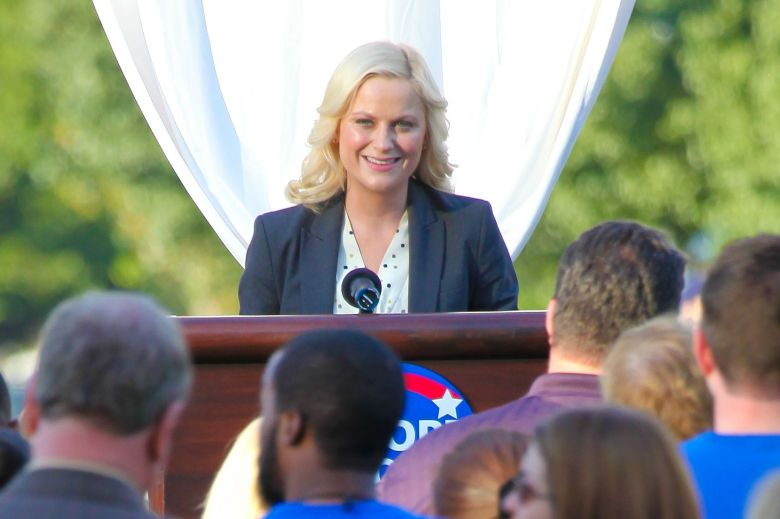 Amy Poehler as Leslie Knope'Parks and Recreation' TV programme filming, Sherman Oaks, America - 23 Feb 2012Amy Poehler was out in Sherman Oaks California shooting scenes of an upcoming episode of her tv show 'Parks and Recreation'