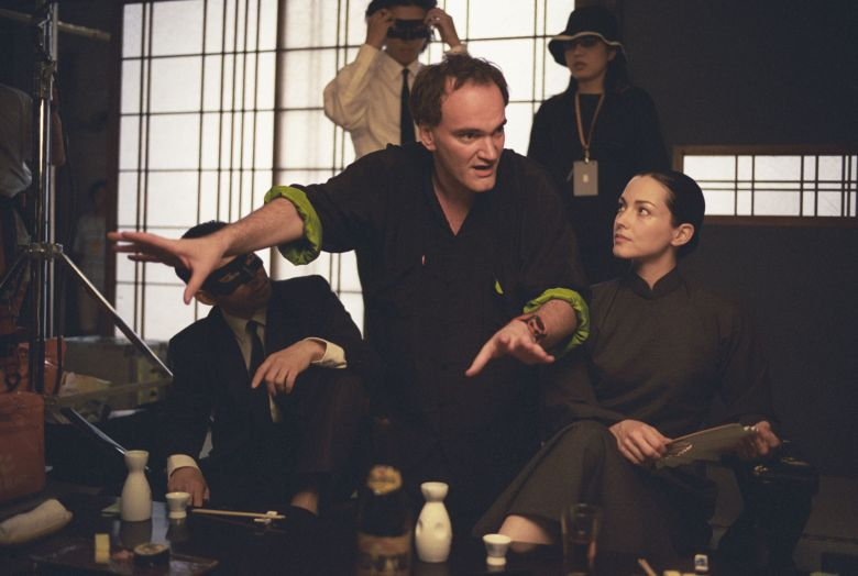 No Merchandising. Editorial Use Only. No Book Cover Usage.Mandatory Credit: Photo by A Band Apart/Miramax/Kobal/REX/Shutterstock (5885642ak)Quentin Tarantino, Julie DreyfusKill Bill - Volume 1 - 2003Director: Quentin TarantinoA Band Apart/MiramaxUSAOn/Off Set