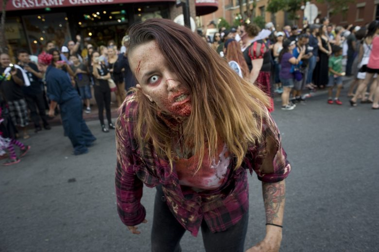 A Woman Dressed As a Zombie Poses For a Picture During a Zombie Walk Through Downtown San Diego on the Third Day of Comic Con 2016 in San Diego California Usa 23 July 2016 the San Diego Comic Con 2016 Runs From 21 Until 24 July United States San DiegoUsa San Diego Comic Con - Jul 2016