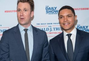 Roy Wood Jr.., Jordan Klepper, Trevor Noah and Hasan MinajThe Daily Show Presents: The Donald J. Trump Presidential Twitter Library, New York, USA - 15 Jun 2017