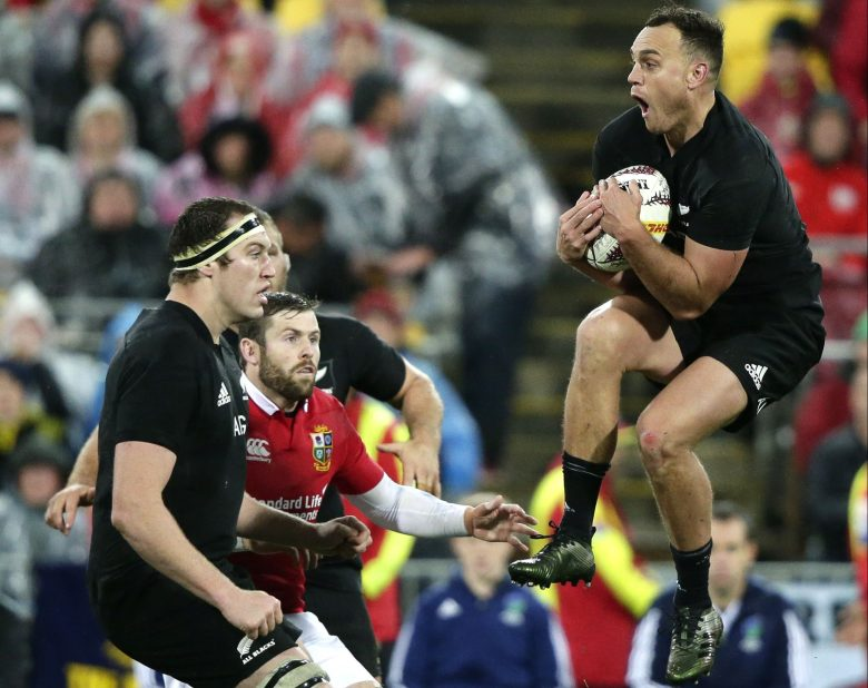 New Zealand fullback Israel Dagg leaps to take the ball during the second rugby test between the British and Irish Lions and the All Blacks in Wellington, New ZealandRugby All Blacks Lions, Auckland, New Zealand - 01 Jul 2017