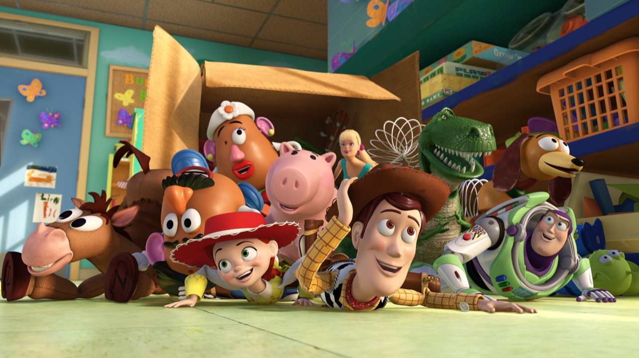 TOY STORY 3(L-R) Bullseye, Mr. Potato Head, Mrs. Potato Head, Jessie, Hamm, Barbie, Woody, Rex, Slinky Dog, Buzz Lightyear, Aliens ©Disney/Pixar. All Rights Reserved.