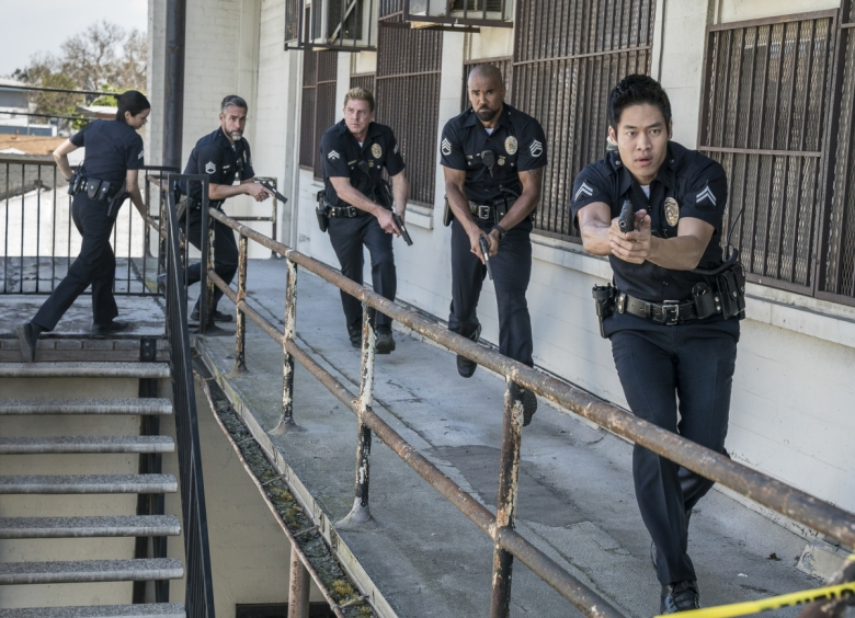"S.W.A.T., a new drama inspired by the television series and the feature film, stars Shemar Moore (second from right) as a locally born and raised S.W.A.T. sergeant newly tasked to run a specialized tactical unit that is the last stop in law enforcement in Los Angeles. His elite unit includes Christina ""Chris"" Alonso (Lina Esco, far left), David ""Deacon"" Kay (Jay Harrington, second from left), Dominique Luca (Kenny Johnson, center) and Victor Tan (David Lim, far right)."
