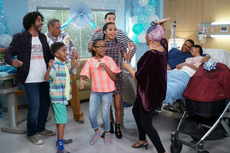 "BLACK-ISH - ""Sprinkles"" - Initially wary, Dre embraces throwing Bow's baby shower and wants it to be unforgettable. However, his plans are put on hold when Bow stops by the OB/GYN with a headache and discovers she is having complications, on the season finale of ""black-ish,"" WEDNESDAY, MAY 10 (9:31-10:00 p.m. EDT), on The ABC Television Network. (ABC/Ron Tom) DAVEED DIGGS, LAURENCE FISHBURNE, MILES BROWN, MARSAI MARTIN, YARA SHAHIDI, MARCUS SCRIBNER, JENIFER LEWIS, ANTHONY ANDERSON, TRACEE ELLIS ROSS"