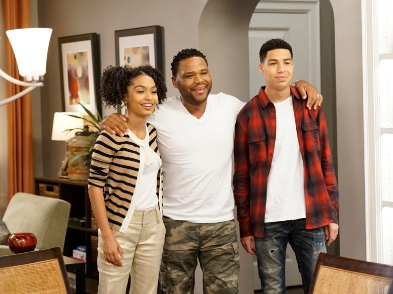 "BLACK-ISH - ""Sister, Sister"" - Bow's sister comes to town after filming a stint on a reality show, and they couldn't have less in common. Meanwhile, Zoey suggests that Dre spend more time with Junior since she's leaving for college, and Jack and Diane decide to rebrand themselves, on ""black-ish,"" WEDNESDAY, APRIL 26 (9:00-9:30 p.m. EDT), on The ABC Television Network. (ABC/Kelsey McNeal) YARA SHAHIDI, ANTHONY ANDERSON, MARCUS SCRIBNER"