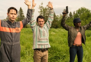 "Samuel Barnett, Elijah Wood, and Jade Eshete, ""Dirk Gently's Holistic Detective Agency"""