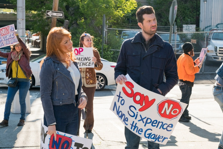 """Difficult People  -- """"Strike Rat"""" - Episode 302 - Julie faces a moral dilemma when she gets cast in Woody Allen's new TV show; Billy and Marilyn scam their way through a government gay conversion therapy program. Matthew's ex-wife comes to town.ÊGuest stars include Vanessa Williams as Trish and Coco Austin as Nurse. Julie Kessler (Julie Klausner) and Billy Epstein (Billy Eichner), shown. (Photo by: Linda Kallerus/Hulu)"""