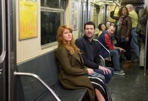 "Difficult People  -- ""Rabbitversary"" - Episode 304 - Alone for the weekend, Julie hires a creepy handyman who overstays his welcome. Meanwhile, Billy feuds with a dickish advertising exec, and Marilyn gets a book deal. Guest stars include Amy Sedaris as Rita, Lucy Liu as Veronica Ford, Chris Elliott as Rick and John Cho as Todd. Julie Kessler (Julie Klausner) and Billy Epstein (Billy Eichner), shown. (Photo by: KC Bailey/Hulu)"