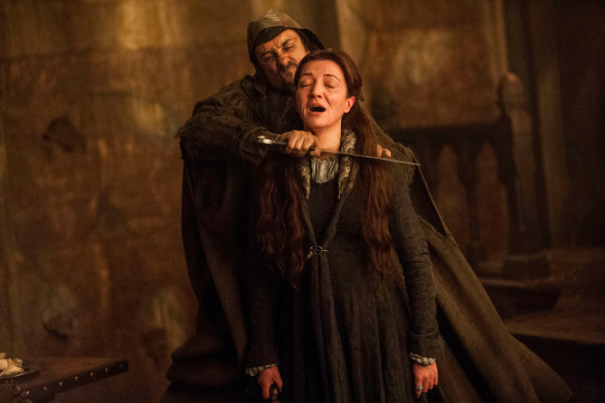 Game of Thrones The Rains of CastamereSeason 3, Episode 9June 2, 2013Michelle Fairley as Catelyn Stark at The Red Wedding