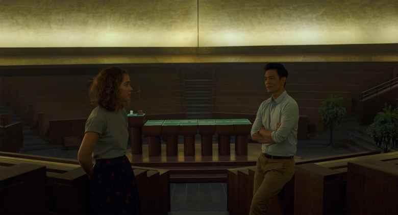 Haley Lu Richardson and John Cho in Columbus
