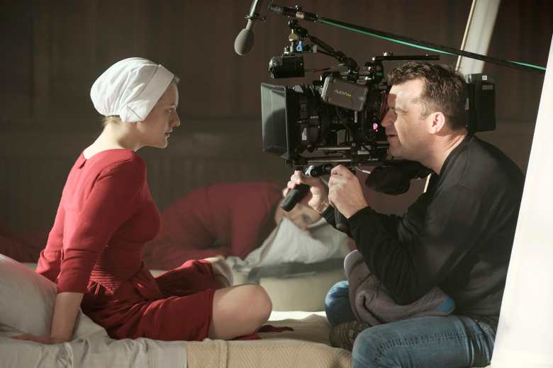 "Elizabeth Moss and DP Colin Watkinson on the set of ""The Handmaid's Tale"""