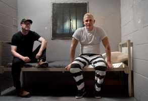 "Director Steven Soderbergh and Daniel Craig on the set of ""Logan Lucky"""