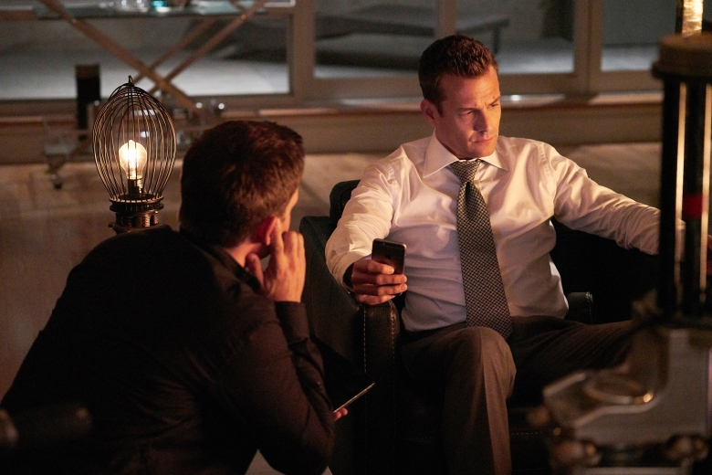 "SUITS -- ""100"" Episode 708 -- Pictured: (l-r) -- (Photo by: Ian Watson/USA Network)"