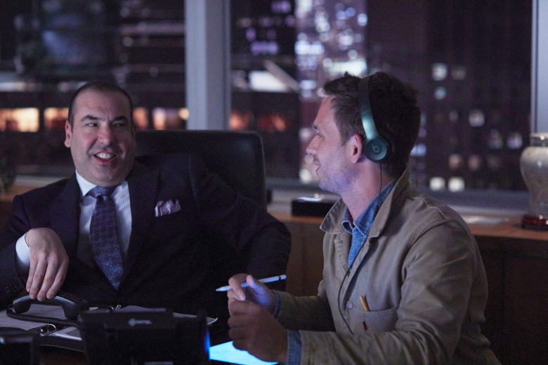 "SUITS -- ""100"" Episode 708 -- Pictured: (l-r) -- (Photo by: Shane Mahood/USA Network)"