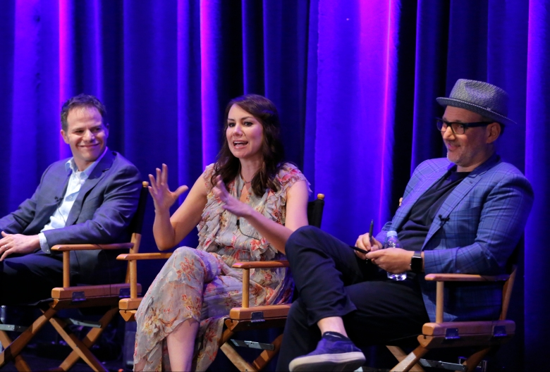 "NBCUNIVERSAL EVENTS -- NBCUniversal Press Tour, August 2017 -- NBC's ""Just For Laughs"" Session -- Pictured: (l-r) Justin Spitzer, Executive Producer, ""Superstore""; Tracey Wigfield, Executive Producer, ""Great News""; Jeff Astof, Executive Producer, ""Trial & Error"" -- (Photo by: Chris Haston/NBC)"