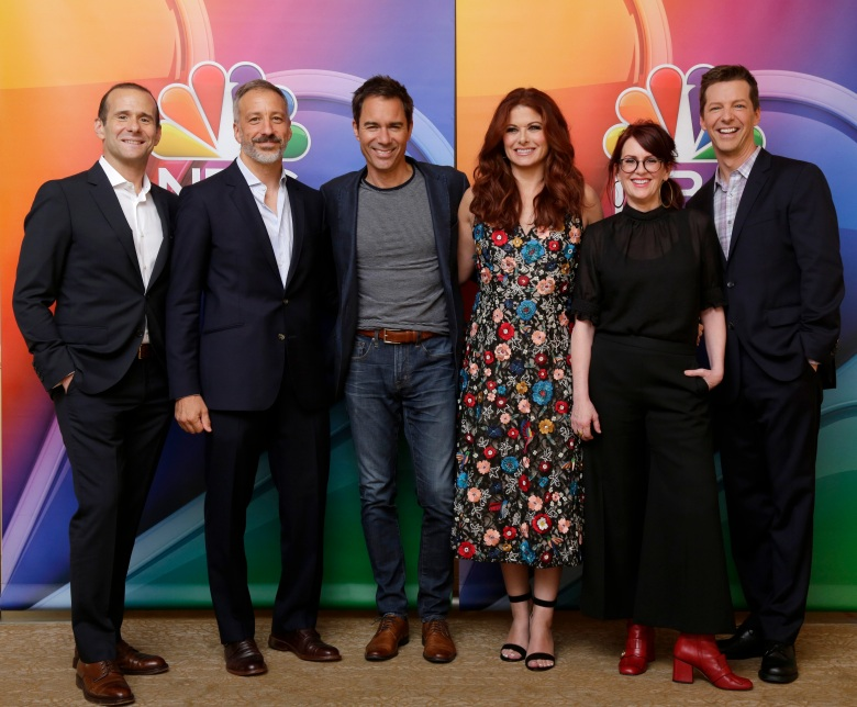 "NBCUNIVERSAL EVENTS -- NBCUniversal Press Tour, August 2017 -- ""Will & Grace"" cast -- Pictured: (l-r) Max Mutchnick, Executive Producer; David Kohan, Executive Producer; Eric McCormack, Debra Messing, Megan Mullally, Sean Hayes -- (Photo by: Paul Drinkwater/NBC)"