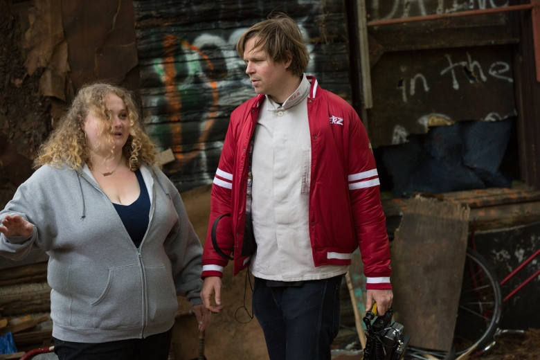 Danielle Macdonald and Director/Writer Geremy Jasper on the set of PATTI CAKE$. Photo by Jeong Park. © 2017 Twentieth Century Fox Film Corporation All Rights Reserved