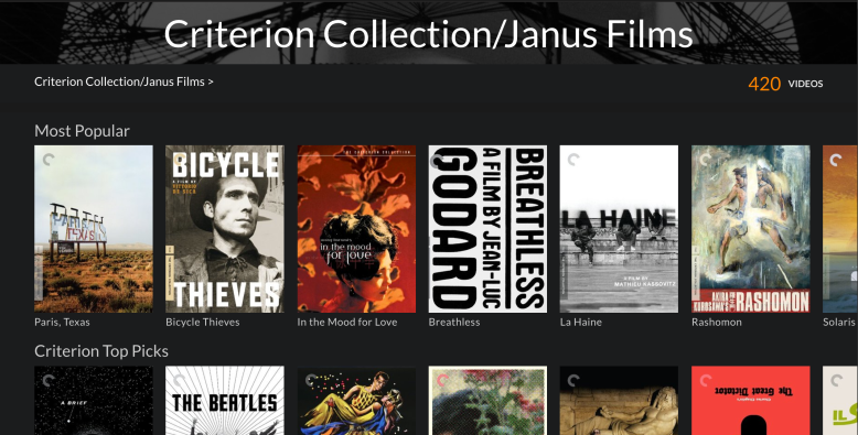 420 Criterion Collection films available on Kanopy