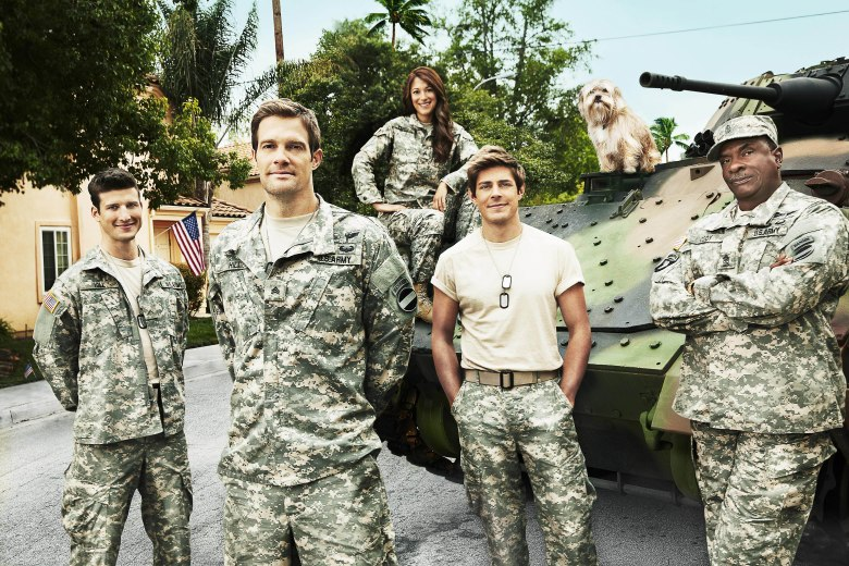 No Merchandising. Editorial Use Only. No Book Cover Usage. Mandatory Credit: Photo by 20th Century Fox TV/Kobal/REX/Shutterstock (5882593a) Parker Young, Geoff Stults, Angelique Cabral, Chris Lowell, Keith David Enlisted - 2014 20th Century Fox TV USA TV Portrait Tv Classics