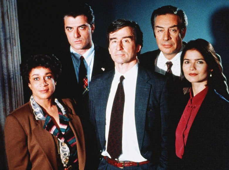 No Merchandising. Editorial Use Only. No Book Cover Usage.Mandatory Credit: Photo by Universal TV/Wolf Film/Kobal/REX/Shutterstock (5886146b)S. Epatha Merkerson, Christopher Noth, Sam Waterston, Jerry Orbach, Jill HennessyLaw and Order - 1990Universal TV/Wolf FilmUSATV Portrait