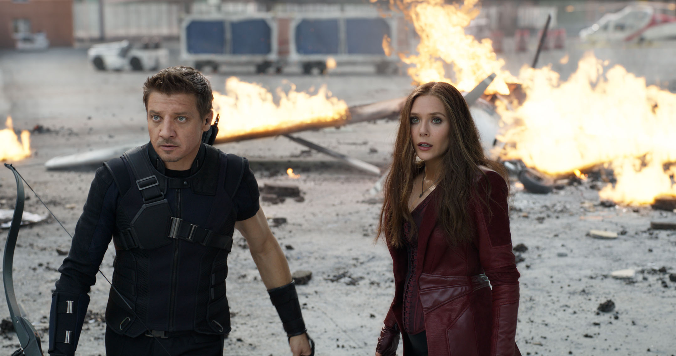 No Merchandising. Editorial Use Only. No Book Cover Usage.Mandatory Credit: Photo by Marvel Studios/Kobal/REX/Shutterstock (5886221bk) Jeremy Renner, Elizabeth Olsen Captain America - Civil War - 2016 Director: Anthony Russo / Joe Russo Marvel Studios USA Scene Still Action/Adventure