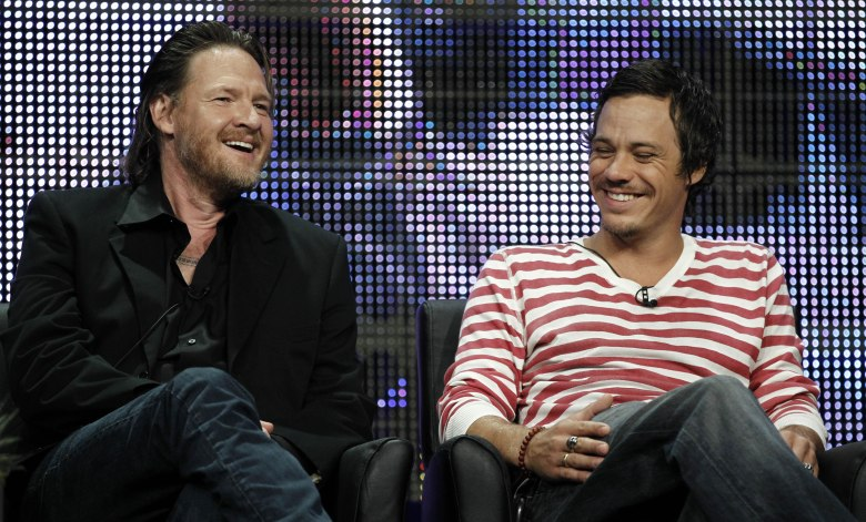 "Donal Logue, Michael Raymond-James Actors Donal Logue, left, and Michael Raymond-James, from ""Terriers"", participate in a panel discussion at the F/X Television Critics Association summer press tour in Beverly Hills, Calif Summer TCA Tour FX, Beverly Hills, USA"