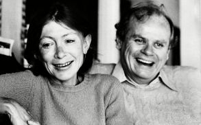 "Didion Dunne Authors Joan Didion, left, and her husband, John Dunne, are shown during an interview in their Malibu home, Ca., in December 1977. Didion made the best seller list with her fourth book, ""A Book of Common Prayer."" Dunne recently made the list with his book ""True ConfessionsJOAN DIDION JOHN DUNNE, MALIBU, USA"