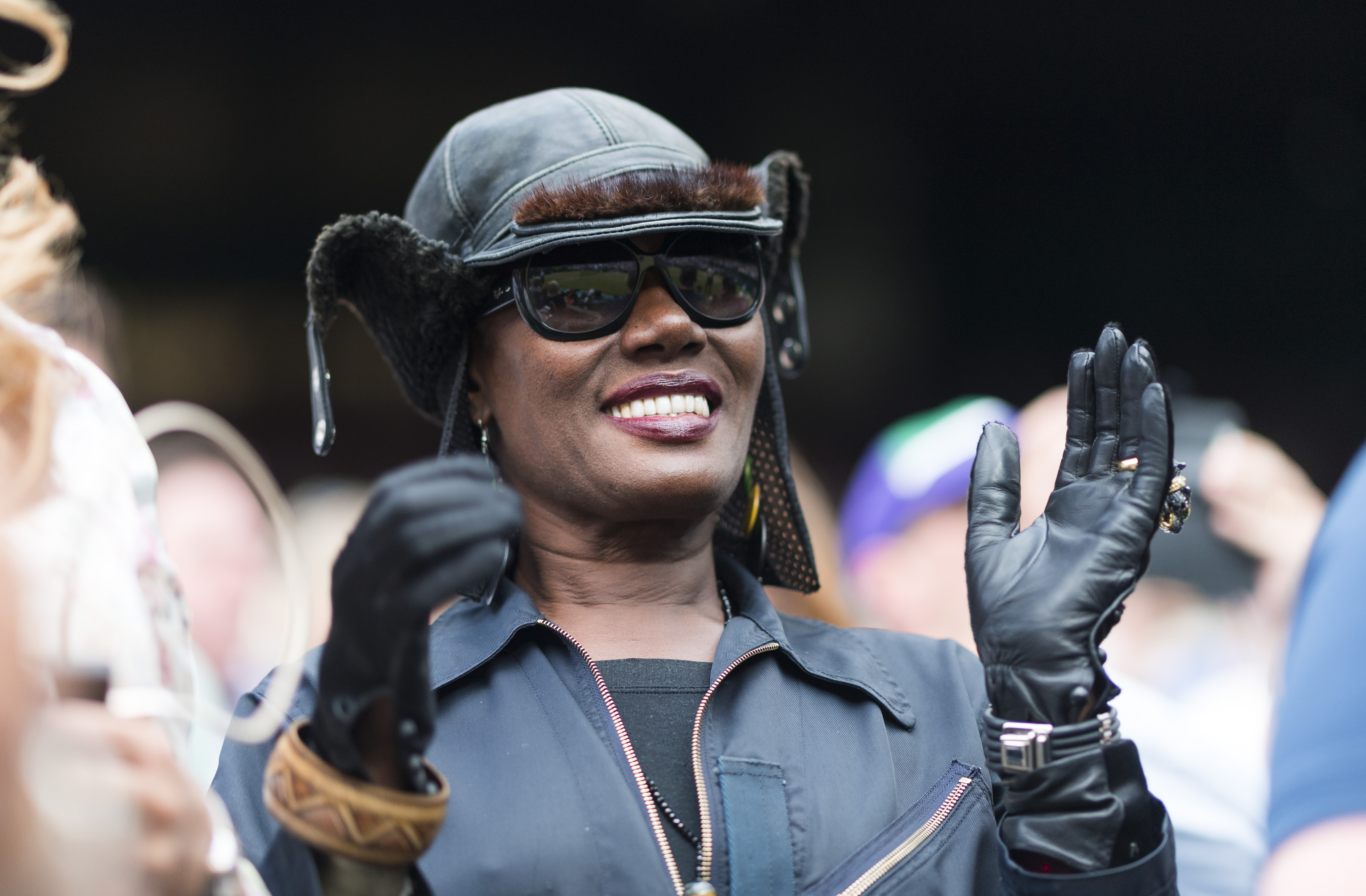 Grace Jones reacts as Roger Federer (SUI) beats Tomas Berdych (CZE)Wimbledon 2017, Day 11, All England Lawn Tennis Club, London UK, 14 July 2017