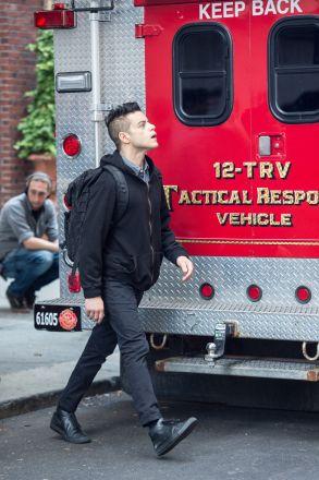 Rami Malek 'Mr Robot' on set filming, New York, USA - 16 Aug 2017