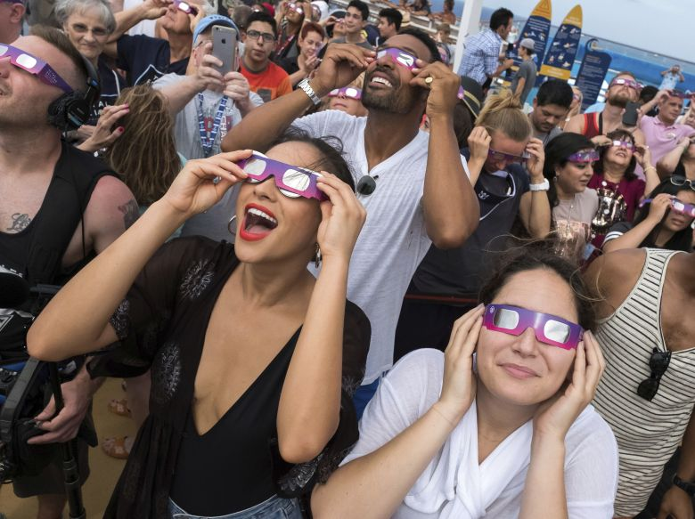Actress and Royal Caribbean Adventurist, Shay Mitchell bears witness to the Great American Eclipse aboard Royal Caribbean's Oasis of the Seas, on Monday, Aug. 21. The ship set sail along the path of totality, offering Mitchell and fellow passengers an unobstructed view at seaRoyal Caribbean Total Eclipse Viewing Party - 21 Aug 2017