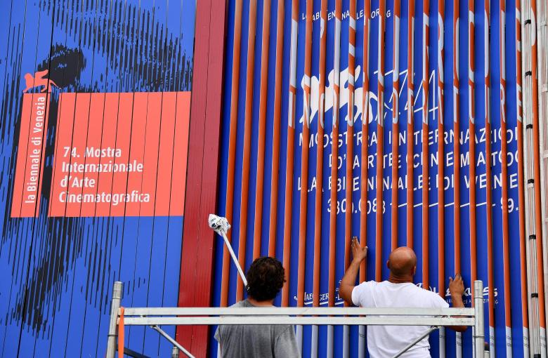 Final preparations are underway at the Lido event site ahead of the annual Venice Film Festival, in Venice, Italy, 28 August 2017. The movie 'Downsizing' by US director Alexander Payne will open the 74th Venice Film Festival that runs from 30 August to 09 September 2017.Italy Venice Film Festival 2017 - 28 Aug 2017