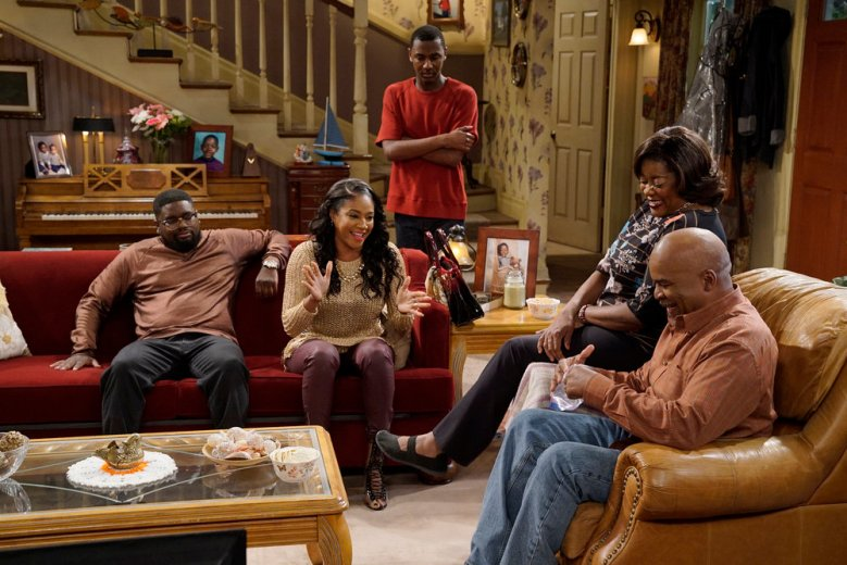 "THE CARMICHAEL SHOW -- ""Gold Diggers"" Episode 313 -- Pictured: (l-r) Lil'Rel Howery as Bobby Carmichael, Tiffany Haddish as Nekeisha Williams, Jerrod Carmichael as Jerrod Carmichael, Loretta Devine as Cynthia Carmichael, David Alan Grier as Joe Carmichael -- (Photo by: Chris Haston/NBC)"