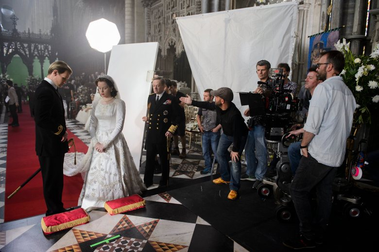 "DP Adriano Goldman on the set of ""The Crown"""