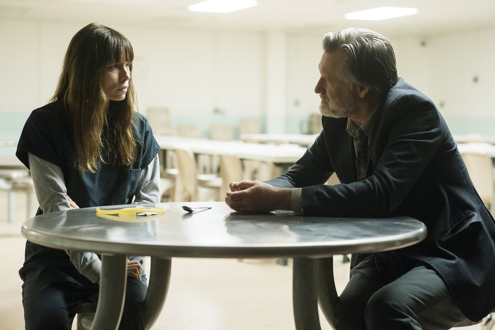 """THE SINNER -- """"Part III"""" Episode 103 -- Pictured: (l-r) Jessica Biel as Cora Tannetti, Bill Pullman as Detective Harry Ambrose -- (Photo by: Peter Kramer/USA Network)"""