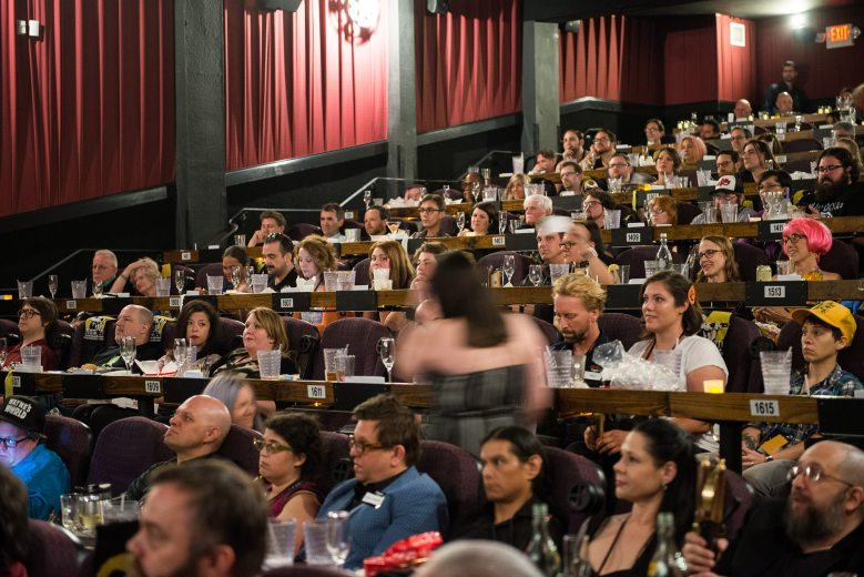 Alamo Drafthouse's 20th anniversary party, held May 25, 2017 at the Ritz location; Jasmine Baker is third from left in seat 1609