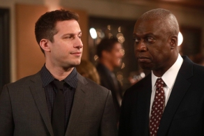 "BROOKLYN NINE-NINE: L-R: Andy Samberg and Andre Braugher in the first half of the special one-hour ""Your Honor/The Slaughterhouse"" episode of BROOKLYN NINE-NINE airing Tuesday, May 16 (8:00-9:00 PM ET/PT) on FOX.Cr: Jordin Althaus/FOX"