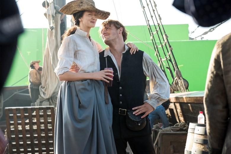 "Caitriona Balfe and Sam Heughan behind the scenes, ""Outlander"""