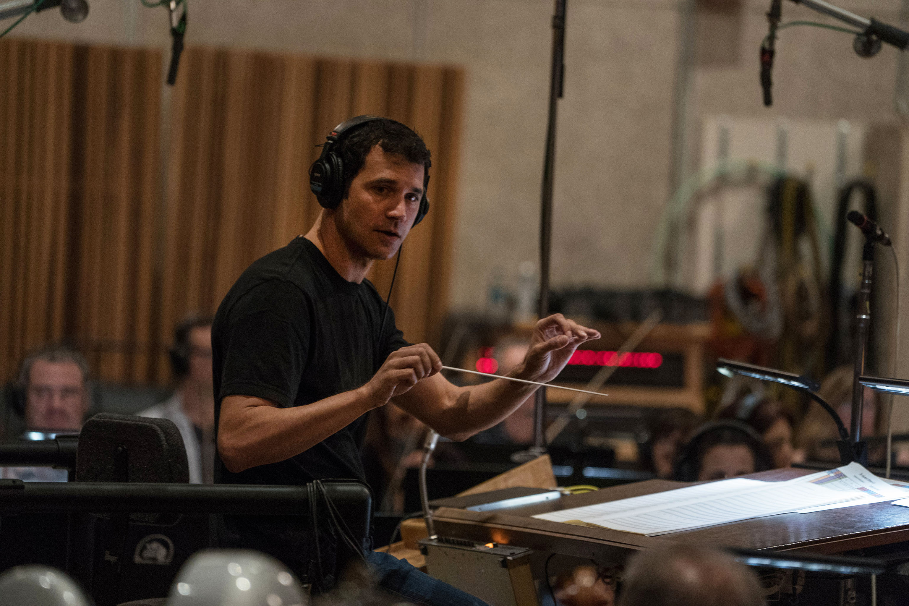 Composer Ramin Djawadi conducting the scoring session for THE MOUNTAIN BETWEEN US.