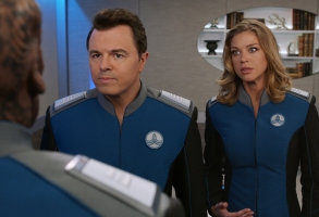 THE ORVILLE: L-R: Seth MacFarlane and Adrianne Palicki in the ÒAbout a GirlÓ time period premiere episode of THE ORVILLE airing Thursday, Sept. 21 (9:00-10:00 PM ET/PT) on FOX. ©2017 Fox Broadcasting Co. Cr: Michael Becker/FOX.edit