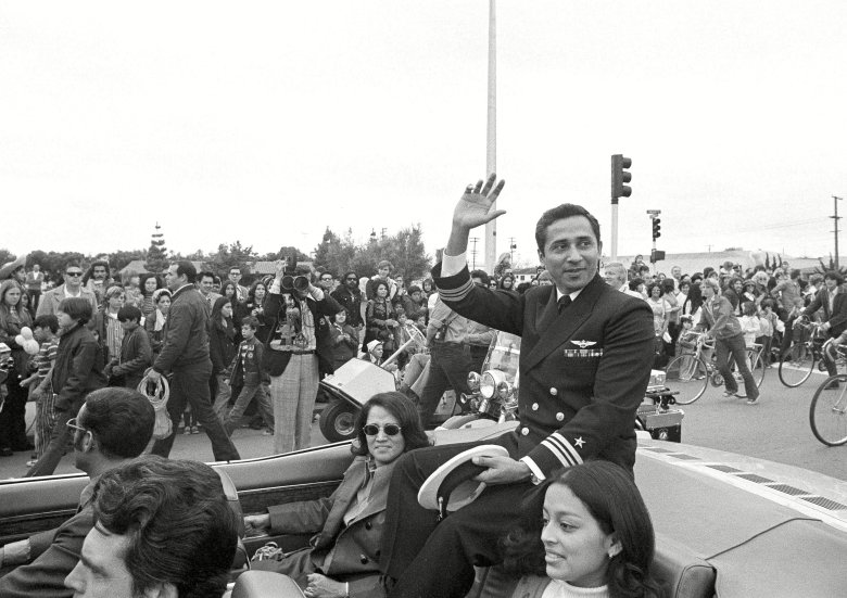 Everett Alvarez Jr., Madelaine Alvarez Lt. Cmdr. Everett Alvarez Jr., a former POW for eight and a half years in North Vietnam, waves to joyous well wishers during a parade in his honor in his hometown of Santa Clara, Calif., . Alvarez was the longest held POW in North Vietnam and the longest held pilot of the war. His sister, Madelaine, is seated next to him, centerVietnam War POWs Everett Alvarez Jr., Santa Clara, USA