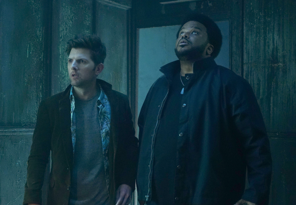 GHOSTED: Pictured L-R: Adam Scott and Craig Robinson in the pilot episode of GHOSTED premiering Sunday, Oct. 1 (8:30-9:00 PM ET/PT) on FOX. ©2017 Fox Broadcasting CO. CR: Kevin Estrada/FOX