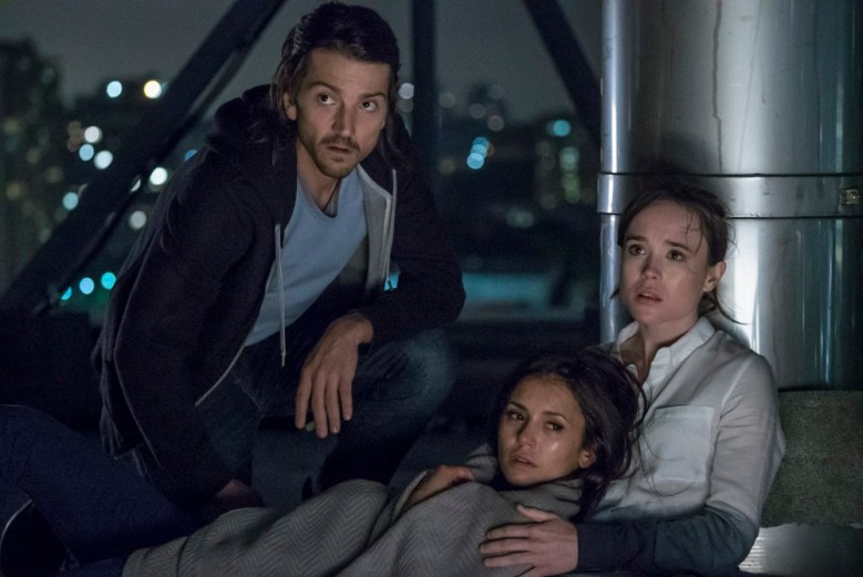 Ray (Diego Luna), Courtney (Ellen Page) and Marlo (Nina Dobrev) after Marlo's flatline in Columbia Pictures' FLATLINERS.