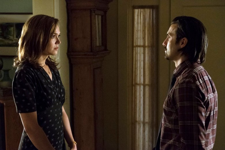 "THIS IS US -- ""What Now?"" Episode 117 -- Pictured: (l-r) Mandy Moore as Rebecca, Milo Ventimiglia as Jack -- (Photo by: Justin Lubin/NBC)"