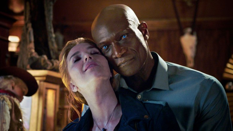 "MIDNIGHT, TEXAS -- ""Last Temptation of Midnight"" Episode 108 -- Pictured: (l-r) Arielle Kebbel as Olivia, Peter Mensah as Lemuel -- (Photo by: NBC)"