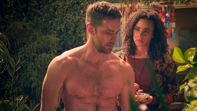 "MIDNIGHT, TEXAS -- ""Riders on the Storm"" -- Pictured: (l-r) Dylan Bruce as Bobo, Parisa Fitz-Henley as Fiji -- (Photo by: NBC)"