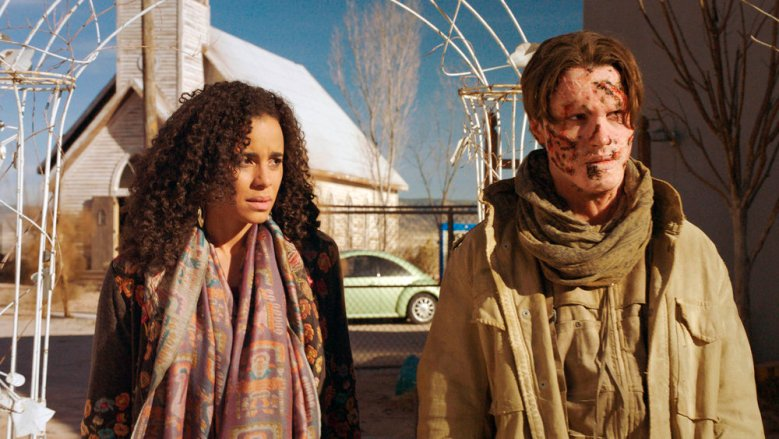 "MIDNIGHT, TEXAS -- ""The Virgin Sacrifice"" -- Pictured: (l-r) Parisa Fitz-Henley as Fiji, Ryan Mccarran as Jeremy -- (Photo by: NBC)"