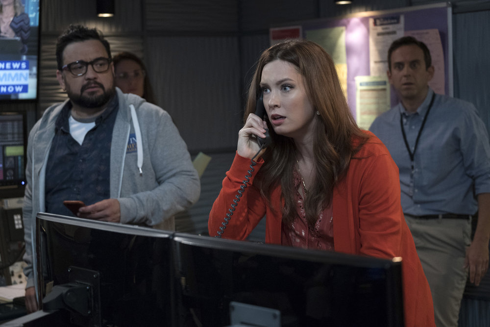 "GREAT NEWS -- ""Boardroom Bitch"" Episode 201 -- Pictured: (l-r) Horatio Sanz as Justin, Briga Heelan as Katie, Brad Morris as Gene -- (Photo by: Colleen Hayes/NBC)"