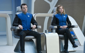 """THE ORVILLE: L-R: Seth MacFarlane and Adrianne Palicki in the """"If the Stars Should Appear"""" episode of THE ORVILLE airing Thursday, Sept. 28 (9:01-10:00 PM ET/PT) on FOX. ©2017 Fox Broadcasting Co. Cr: Michael Becker/FOX"""