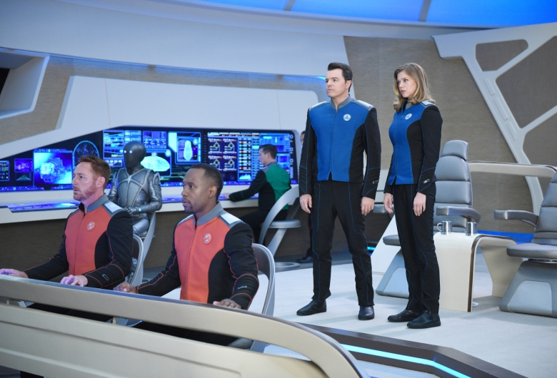 "THE ORVILLE: L-R: Scott Grimes, Mark Jackson, J. Lee, Seth MacFarlane and Adrianne Palicki in the new space adventure series from the creator of ""Family Guy."" The first part of the special two-part series premiere of THE ORVILLE will air Sunday, Sept. 10 (8:00-9:00 PM ET/PT), immediately following the NFL ON FOX Doubleheader. ©2017 Fox Broadcasting Co. Cr: Michael Becker/FOX"